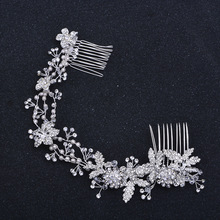 Fashion Silver Color Rhinestone Bridal Long Hair Comb Vine Flower Wedding Headband Accessories Pearl Hair Jewelry Handmade
