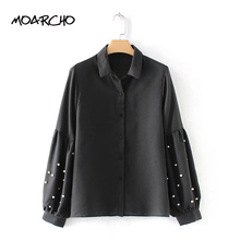 MOARCHO Vintage Pearls Beading Black Women Shirts Lantern Loose Sleeve Chic Turn Down Collar Blouse 2018 Casual Tops Blusas(China)