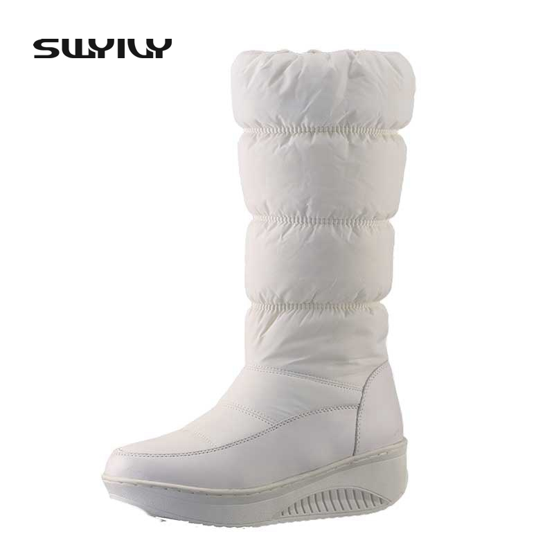 SWYIVY Woman Snow Boots Platform Down Cloth 44 Large Size Wedge Swing Shoes 2018 Female Winter Plush Fur Warm Long Boots Shoes
