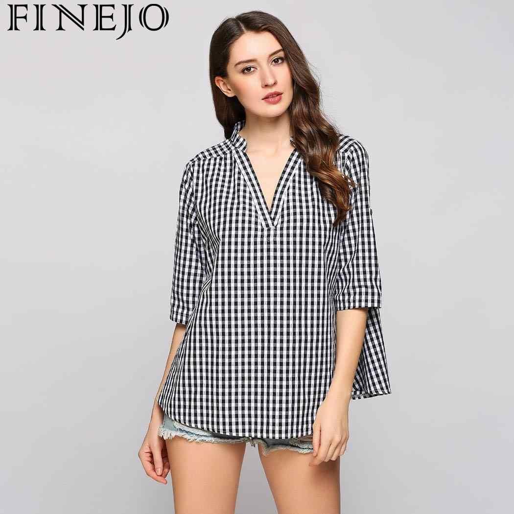 FINEJO Women Plaid Shirts 2018 Spring Long Sleeve Blouses Shirt Office Lady  Cotton Lace Shirt Tunic c24eeaed17b6