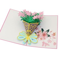 3D Flower Pop Up Greeting Card Happy Birthday Music LED Lighting Carving Art Paper Craft Invitations Rose Bouquet Postcard