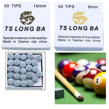 50 pcs Billiard Snooker Table Tips Leather Cue 9 mm 10 mm Diameter Soft Laminated Snooker Tips