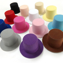 12pcs/lot Plain Mini Taller Top Hat. Hen Party Mini Top hat. Children Girls Hair Fascinator Woman Hair Accessory 9cm 13 colors(China)