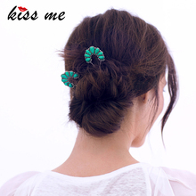 KISS ME Green Water Drop Synthetic Stone Hairpins Trendy Alloy Vintage Hair Jewelry Women Accessories