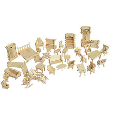 34 Pcs/Set Miniature 1:12 Dollhouse Furniture for Dolls,Mini 3D Wooden Puzzle DIY Building Model Toys for Children Gift