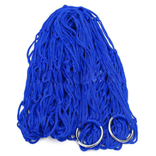 Practical Blue Nylon Hammock Hanging Mesh Sleeping Bed Swing Outdoor Camping(China)