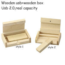 4GB 8GB 16GB 32GB 64GB USB Flash Drive Collectible Wooden USB + Wooden Box Pendrive USB 2.0 Flash Memory Stick U Disk Pendrive(China)