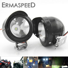 Pair Motorcycle LED Spot Beam Side Assist Lamp Auxiliary White Light 12-18V Universal ATV Road Scooter Dirt Bike Motors - ERMASPEED Racing Tech Store store