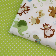 100% Cotton twill fresh cartoon animals money green dots for DIY kids bedding cushions curtains tent handwork decor fabric cloth(China)