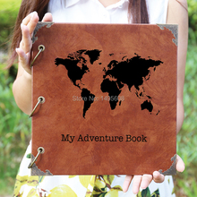 Leather Travel Photo Album /Our Adventure Book/personalized Wedding Guest Book/weddinng photo album(China)
