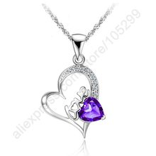 JEXXI Source New Brands Women Necklace 925 Sterling Silver Jewellery CZ Love Letter Cubic Zirconia Pendant Necklaces So Cheap!!!(China)