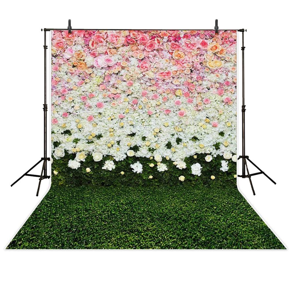 200*300cm(6.5*10ft) spring wedding photography background pink white flowers green glass photo backdrops custom wedding studio<br>