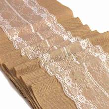 A Style 10pcs 2.75mx30cm Natural Vintage Burlap White Lace Hessian Table Runner Wedding Party Decorations Supply New