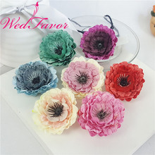 WedFavor 20pcs 7cm Silk Retro Chrysanthemum Flowers Artificial Peony Flower Heads For Wedding Dress DIY Hat Corsage Accessories(China)