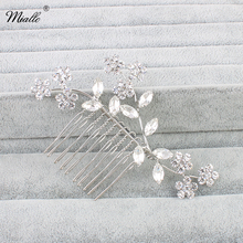 Miallo Refinement Crystal Flower Leaf Bridal Hair Comb Wedding Decoration Hair Jewelry For Women Fashion Wedding Accessories(China)