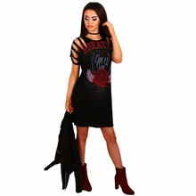 Hot Halloween Sexy Enthusiasm Vestidos Night Club Gothic Print Woman Dress Rose Backless Female Clothes Fitness Wear Size SXL
