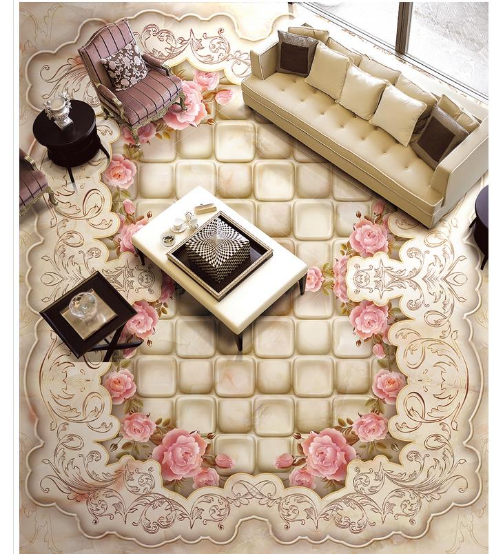 3D wallpaper 3d floor murals PVC Marble Flower PVC waterproof floor Home Decoration<br>