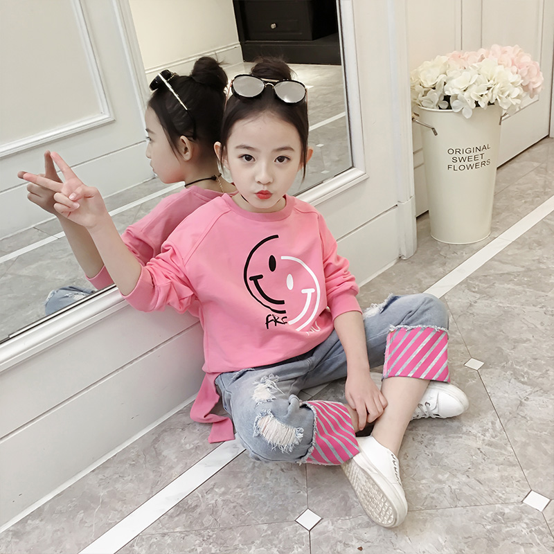 Childrens clothing 2018 spring new childrens long-sleeved sweater with jeans casual two-piece suit<br>