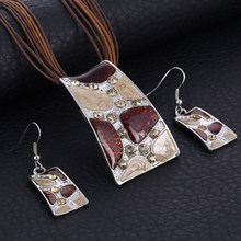 Fashion Enamel Jewelry Sets Geometry Pendant Multilayer Leather Rop Chain Necklace Earring Sets Wedding Costume Jewelry Set Hot(China)