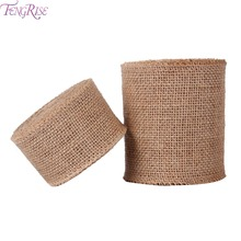 FENGRISE 5 10cm 5M Sisal Wedding Centerpieces Decoration Craft Burlap Ribbon Natural Jute Roll Rustic Christmas Party Supplies(China)