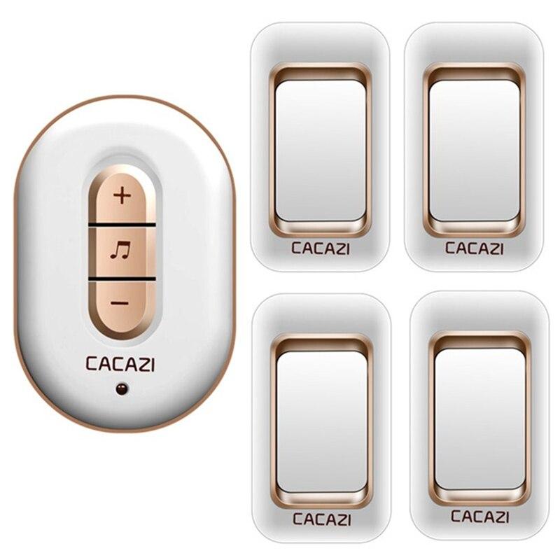 CACAZI wireless doorbell 300M remote 4 waterproof IP44 transmitters+1 AC plug-in receiver door bell 48 chime 6 volume door ring<br>