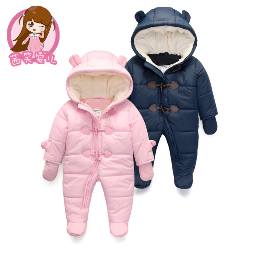 2017 new Keep Thick warm Infant baby rompers Winter clothes Newborn Baby Boy Girl Romper Jumpsuit Hooded Kid Outerwear For 0-24M<br>