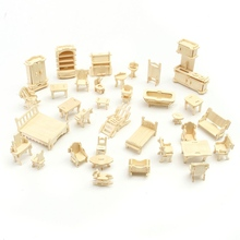 Mini 34pcs/set DIY Kids Educational Dollhouse Furniture 3D Woodcraft Puzzle Model Kit Handmade Toys Children Handworked gift