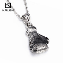 Kalen Men's Fashion Power Boxing Big Fist Pendant Necklaces Stainless Steel Long Chain Necklaces Wholesale Cheap Jewelry(China)