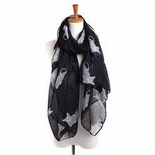 2017 New Women's Autumn Winter Voile Scarves Cute Cat Print Scarf Wraps Shawl Long Large Soft Stole Scarves All-match Bufandas