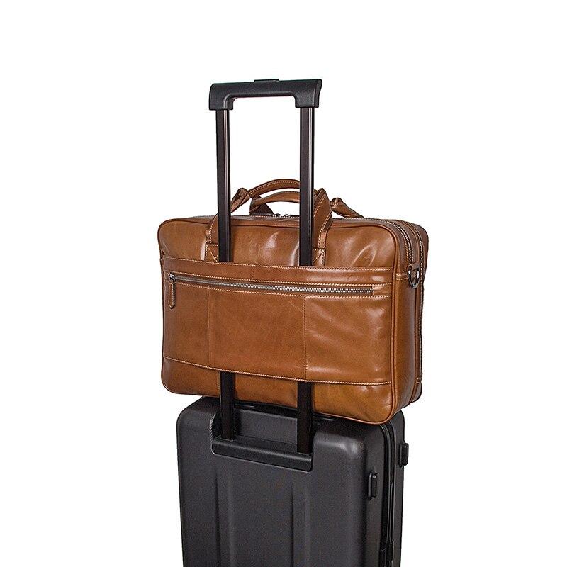 J.M.D Vintage Style Breifcase Bag For Business Men Large Capacity Business Travel Bag Trendy Handbag 17 Inch Laptop Bag 7380B