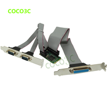 Combo 2 Serial + 1 Parallel IEEE 1284 mini PCIe Controller card for mini ITX mPCIe to RS232 com port + printer LPT port adapter(China)