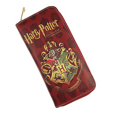 Free Shipping Harry Potter Long Wallet Hogwarts Gryffindor Cool Design Female Round Zipper Fashion Long Purse Card Holder(China)