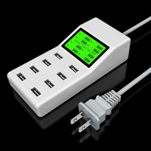 Universal 8 USB Ports Led Display US EU UK Plug Travel AC Power Strip Adapter Socket Smart Charger For Cell Phone Tablet Camera