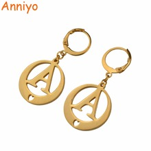 Anniyo (A-S) Gold Color Letters Earrings Initial for Women/Girls,Alphabet Earring English Letter Jewelry Gifts #023021(China)