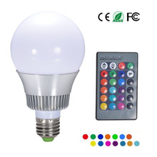 1PC RGB LED Bulb E27 LED Lamp AC85-265V 110V 220V RGB Spotlight 5W 12W Magic Holiday RGB lighting+IR Remote Control 16 Colors