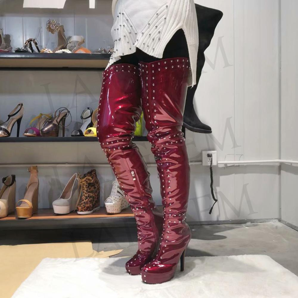 LAIGZEM TRENDY Women Over-the-Knee Boots Platform Studded Party Heels Black Blue Burgundy Boots Botines Mujer Big Size 4-19