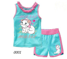 Baby Girls Pajamas Summer Hello Kitty Suits Children 2Pcs Sets Vest + Shorts Cute Kt Cat Kids Clothing Set Retail 2017 New