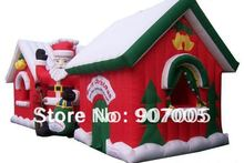 X039  26*9.8ft Commercial  Inflatable Santa Claus and Snowman Christmas House Decoration + 1 CE/UL Blower + Repair Kids