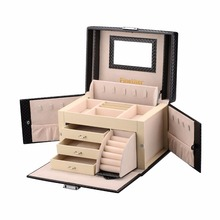Finether Rectangular Jewelry Box Lockable Makeup Storage Case Organizer with Lift-Up Lid Mirror Diamond Pattern Leather Box
