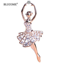 Ballet Dancer Ballerinas Brooches Women Girls Cachecol Hijab Pin Up Clips Scarf Hats Shoulder Corsages Bouquet Joias Ouro Bijoux(China)