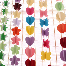 Buy 3M 3D Hanging paper garland heart star String wedding party Birthday Baby Decor Paper Banner DIY Room Door Curtain Decoration for $1.48 in AliExpress store