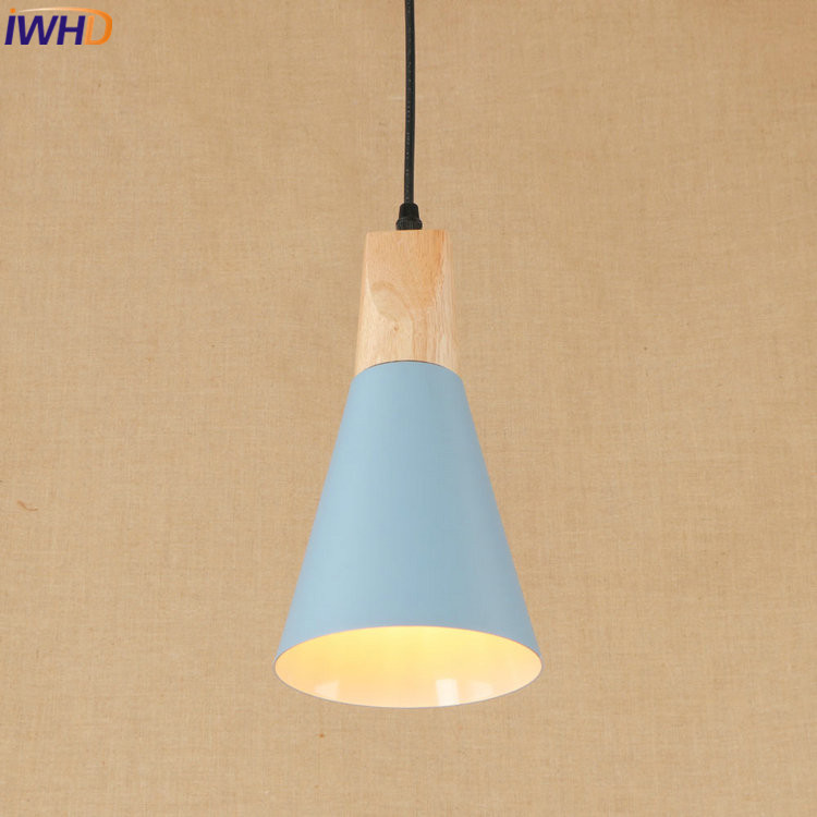 IWHD Modern LED Pendant Lamp Colorful Creative Nordic Simple Pendant Light Wooden Droplight Loft Hanglamp Fixtures Home Lighting<br>