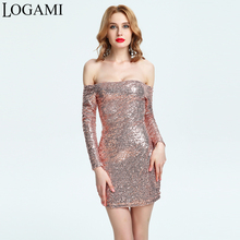 LOGAMI Black Gold Sequin Dress Long Sleeve Mini Bodycon Dress Off Shoulder Sexy Party Dresses Mini Club Wear Ladies Evening Tops