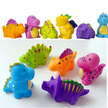 5PCS Lovely Dinosaur Animals Colorful Soft Rubber Float Bathing Toy For Baby(China)
