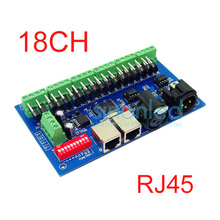 Wholesale 18CH Channel 3A/Ch DMX512 with RJ45 Easy DMX LED Decoder,Controller,Dimmer,Drive For LEDs RGB Strip Modules