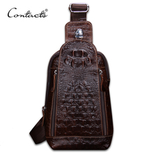 CONTACT'S Fashion Genuine Leather Men Bag Brand Alligator Leather Vintage Crossbody Bags Famous Brand Small Men's Messenger Bag(China)