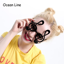 Decorated Black Musical Note Costume Glasses Night Party Favors Eyewear Accessories Photobooth Props Party Supplies Decoration(China)