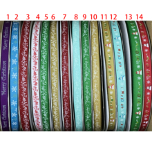 "Crazy Discount 3/8"" 9mm 14 Choices Merry Christmas Printed Grosgrain Ribbon for Party,Gift Packaging,100 Yards(China)"
