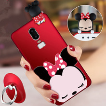 OnePlus 6 3D Mickey Minnie Mouse phone Cases One Plus 6 / 1+5T Cute Cartoon soft silicone minnie back cover +Strap  Co.,Ltd)