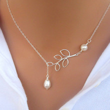 N617 Fashion Pearl Pendant Necklace Fashion Leaf Imitation Pearls Drops Cross Necklace For Women Jewelry Gift Party 2017(China)
